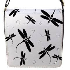 Black and white dragonflies Flap Messenger Bag (S)