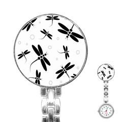 Black and white dragonflies Stainless Steel Nurses Watch