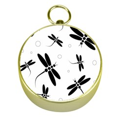 Black and white dragonflies Gold Compasses