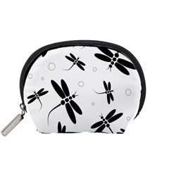 Black and white dragonflies Accessory Pouches (Small)
