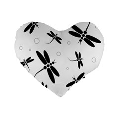 Black and white dragonflies Standard 16  Premium Flano Heart Shape Cushions