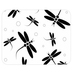 Black and white dragonflies Double Sided Flano Blanket (Medium)