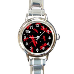 Red, black and white dragonflies Round Italian Charm Watch