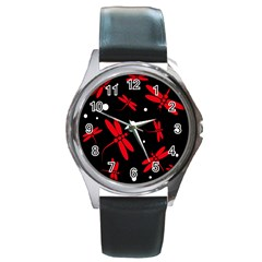 Red, black and white dragonflies Round Metal Watch