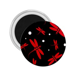 Red, black and white dragonflies 2.25  Magnets
