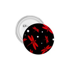 Red, black and white dragonflies 1.75  Buttons