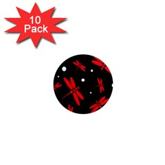 Red, black and white dragonflies 1  Mini Magnet (10 pack)