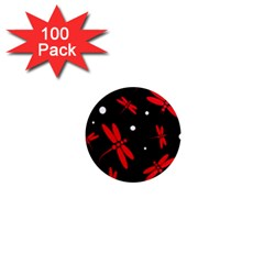 Red, black and white dragonflies 1  Mini Magnets (100 pack)
