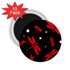 Red, black and white dragonflies 2.25  Magnets (10 pack)