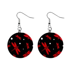 Red, black and white dragonflies Mini Button Earrings