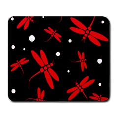 Red, black and white dragonflies Large Mousepads