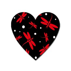 Red, black and white dragonflies Heart Magnet