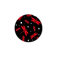 Red, black and white dragonflies Golf Ball Marker (10 pack)