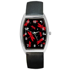 Red, black and white dragonflies Barrel Style Metal Watch