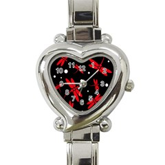 Red, black and white dragonflies Heart Italian Charm Watch
