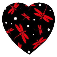 Red, black and white dragonflies Jigsaw Puzzle (Heart)