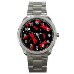 Red, black and white dragonflies Sport Metal Watch