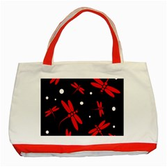 Red, black and white dragonflies Classic Tote Bag (Red)