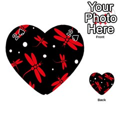 Red, black and white dragonflies Playing Cards 54 (Heart)