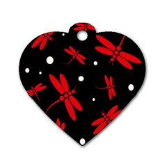 Red, black and white dragonflies Dog Tag Heart (Two Sides)