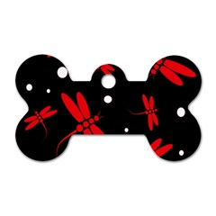Red, black and white dragonflies Dog Tag Bone (Two Sides)