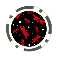 Red, black and white dragonflies Poker Chip Card Guards