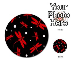Red, black and white dragonflies Multi-purpose Cards (Round)