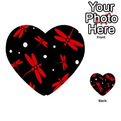 Red, black and white dragonflies Multi-purpose Cards (Heart)