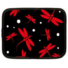 Red, black and white dragonflies Netbook Case (Large)