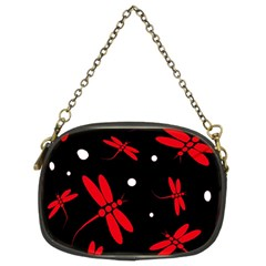 Red, black and white dragonflies Chain Purses (Two Sides)