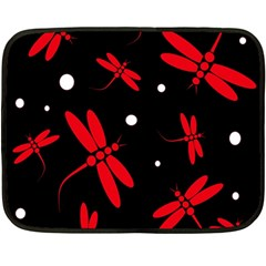 Red, black and white dragonflies Double Sided Fleece Blanket (Mini)
