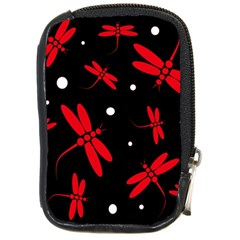 Red, black and white dragonflies Compact Camera Cases