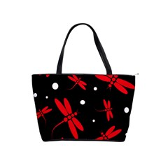 Red, black and white dragonflies Shoulder Handbags