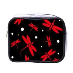 Red, black and white dragonflies Mini Toiletries Bags