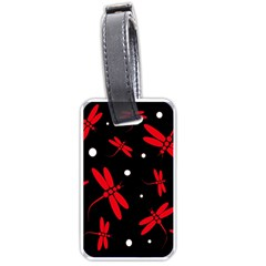 Red, black and white dragonflies Luggage Tags (One Side)