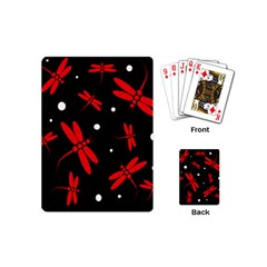 Red, black and white dragonflies Playing Cards (Mini)