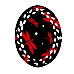Red, black and white dragonflies Ornament (Oval Filigree)