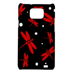 Red, black and white dragonflies Samsung Galaxy S2 i9100 Hardshell Case
