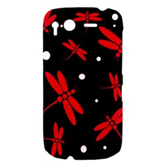 Red, black and white dragonflies HTC Desire S Hardshell Case
