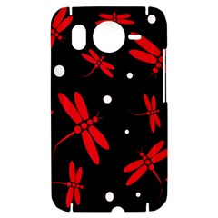 Red, black and white dragonflies HTC Desire HD Hardshell Case