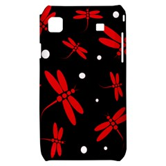 Red, black and white dragonflies Samsung Galaxy S i9000 Hardshell Case