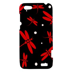 Red, black and white dragonflies HTC One V Hardshell Case