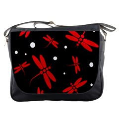 Red, black and white dragonflies Messenger Bags