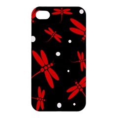 Red, black and white dragonflies Apple iPhone 4/4S Premium Hardshell Case