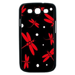 Red, black and white dragonflies Samsung Galaxy S III Case (Black)