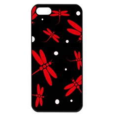 Red, black and white dragonflies Apple iPhone 5 Seamless Case (Black)