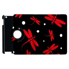 Red, black and white dragonflies Apple iPad 2 Flip 360 Case