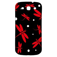 Red, black and white dragonflies Samsung Galaxy S3 S III Classic Hardshell Back Case
