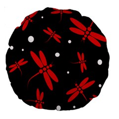 Red, black and white dragonflies Large 18  Premium Round Cushions