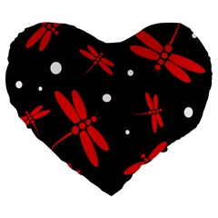 Red, black and white dragonflies Large 19  Premium Heart Shape Cushions